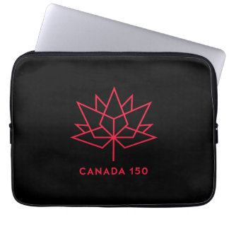 Canada 150 Official Logo - Black and Red Laptop Sleeve