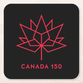 Canada 150 Official Logo - Black and Red Square Paper Coaster