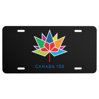 Canada 150 Official Logo - Multicolor and Black License Plate