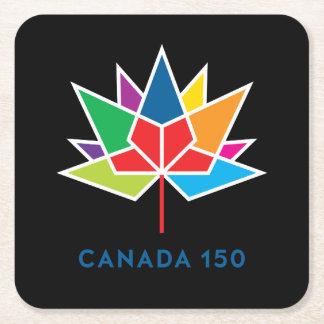 Canada 150 Official Logo - Multicolor and Black Square Paper Coaster