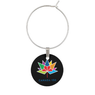 Canada 150 Official Logo - Multicolor and Black Wine Glass Charm