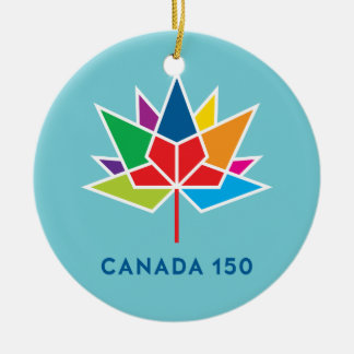 Canada 150 Official Logo - Multicolor and Blue Ceramic Ornament