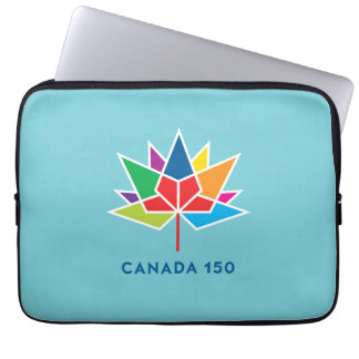 Canada 150 Official Logo - Multicolor and Blue Computer Sleeve