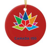 Canada 150 Official Logo - Multicolor and Red Ceramic Ornament