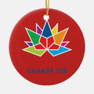Canada 150 Official Logo - Multicolor and Red Ceramic Ornament