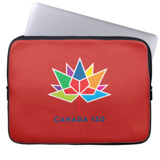 Canada 150 Official Logo - Multicolor and Red Laptop Sleeve