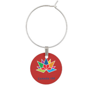 Canada 150 Official Logo - Multicolor and Red Wine Glass Charm