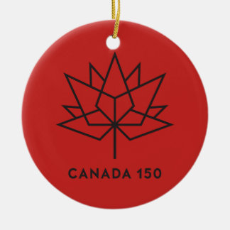 Canada 150 Official Logo - Red and Black Ceramic Ornament