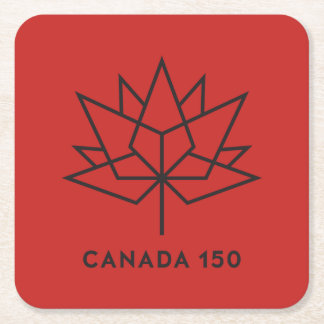 Canada 150 Official Logo - Red and Black Square Paper Coaster