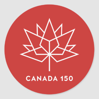 Canada 150 Official Logo - Red and White Classic Round Sticker