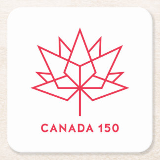 Canada 150 Official Logo - Red Outline Square Paper Coaster