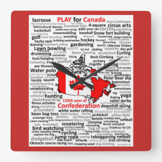 Canada 150 Play List Square clock