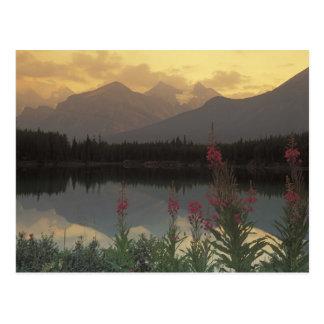 Canadá, Alberta, Banff. Salida del sol escénica de Tarjeta Postal