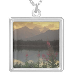 Canada, Alberta, Banff. Sunrise scenic of Silver Plated Necklace