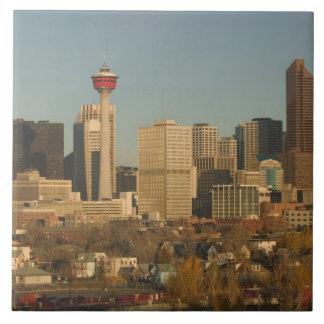Canada, Alberta, Calgary: City Skyline from 2 Ceramic Tiles