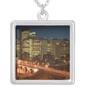 Canada, Alberta, Calgary: Downtown Calgary, Silver Plated Necklace