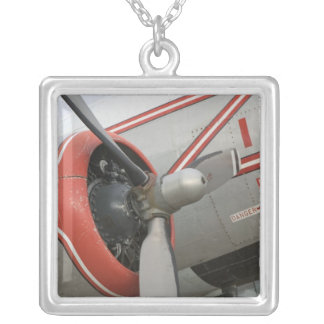 Canada, Alberta, Edmonton: Alberta Aviation Square Pendant Necklace