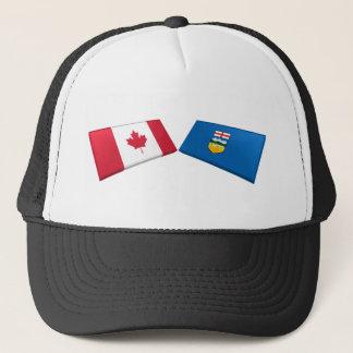 Canada & Alberta Flag Tiles Trucker Hat