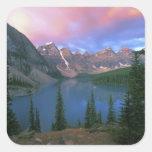 Canada, Alberta, Lake Moraine at Dawn, Banff Square Sticker