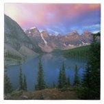 Canada, Alberta, Lake Moraine at Dawn, Banff Tile