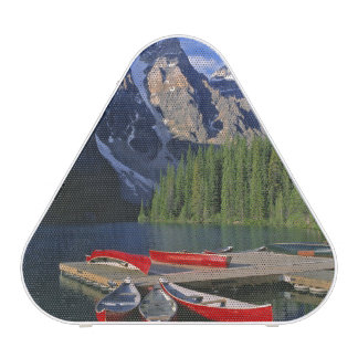 Canada, Alberta, Moraine Lake. Red canoes await Bluetooth Speaker