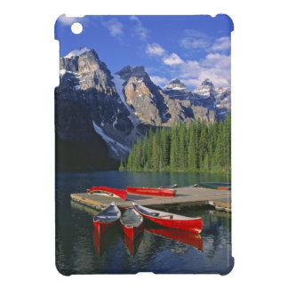 Canada, Alberta, Moraine Lake. Red canoes await Case For The iPad Mini