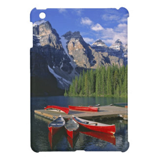 Canada, Alberta, Moraine Lake. Red canoes await Cover For The iPad Mini