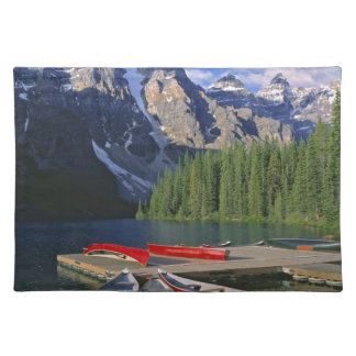 Canada Alberta Moraine Lake Red canoes await Place Mat