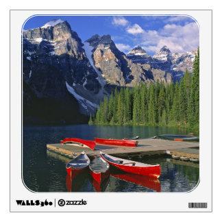Canada, Alberta, Moraine Lake. Red canoes await Room Stickers