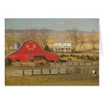 Canada, Alberta, Pincher Creek: Red Barn & Ranch Greeting Card