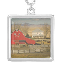 Canada, Alberta, Pincher Creek: Red Barn & Ranch Silver Plated Necklace