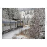 Canadá, Alberta. VÍA el tren de la nieve del carri Felicitaciones