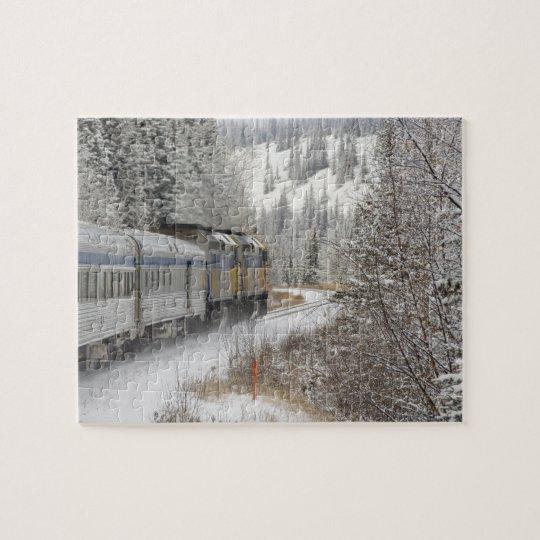 Canada, Alberta. VIA Rail Snow Train between Jigsaw Puzzle