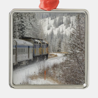 Canada, Alberta. VIA Rail Snow Train between Metal Ornament