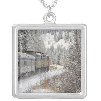 Canada, Alberta. VIA Rail Snow Train between Square Pendant Necklace