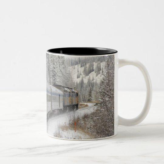 Canada, Alberta. VIA Rail Snow Train between Two-Tone Coffee Mug