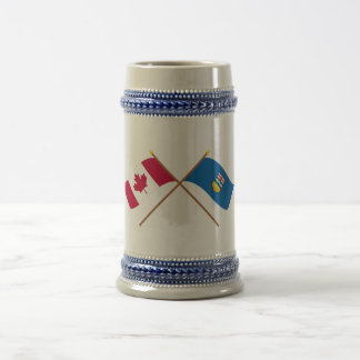 Canada and Alberta Crossed Flags Beer Stein