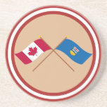 Canada and Alberta Crossed Flags Coasters