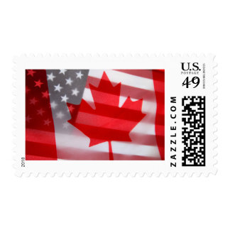 Canada and America flags Postage