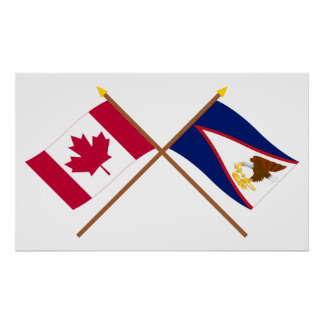 Canada and American Samoa Crossed Flags Poster