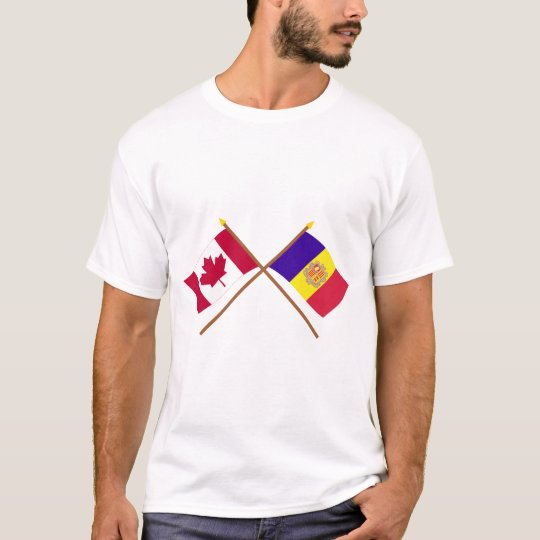 Canada and Andorra Crossed Flags T-Shirt