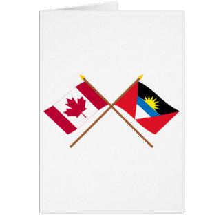 Canada and Antigua & Barbuda Crossed Flags Card