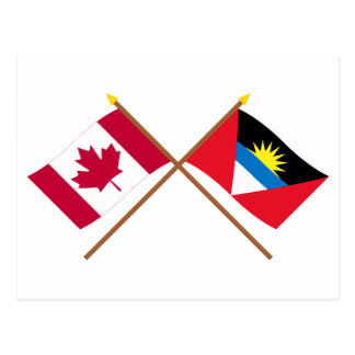 Canada and Antigua & Barbuda Crossed Flags Postcard