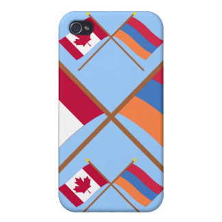 Canada and Armenia Crossed Flags Cover For iPhone 4
