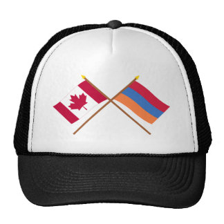 Canada and Armenia Crossed Flags Mesh Hats