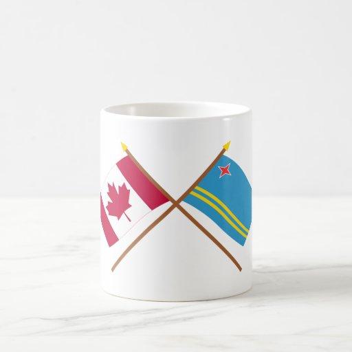 Canada and Aruba Crossed Flags Coffee Mug