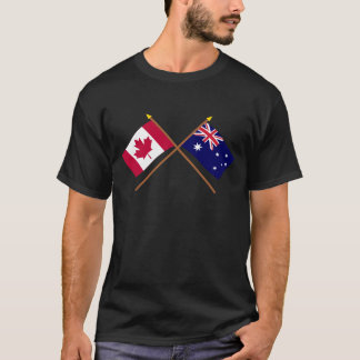 Canada and Australia Crossed Flags T-Shirt
