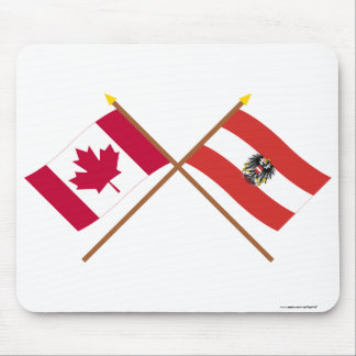 Canada and Austria Crossed Flags Mouse Pad