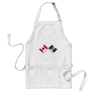 Canada and Barbados Crossed Flags Adult Apron