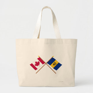 Canada and Barbados Crossed Flags Large Tote Bag